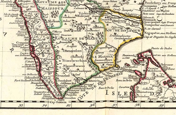 south india french map 1723