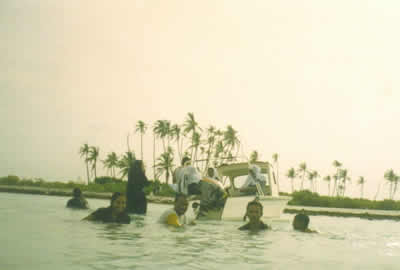Picnic at Viringili Island near Minicoy. May 2004