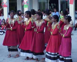 Maldive school girls performing a fabricated folk dance